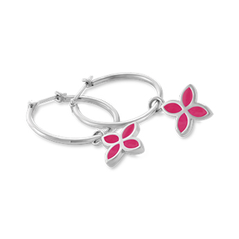 Miami lakes jewelers 290145e05 pandora silver hoops with pink enamel flowers earrings mightylinksfo