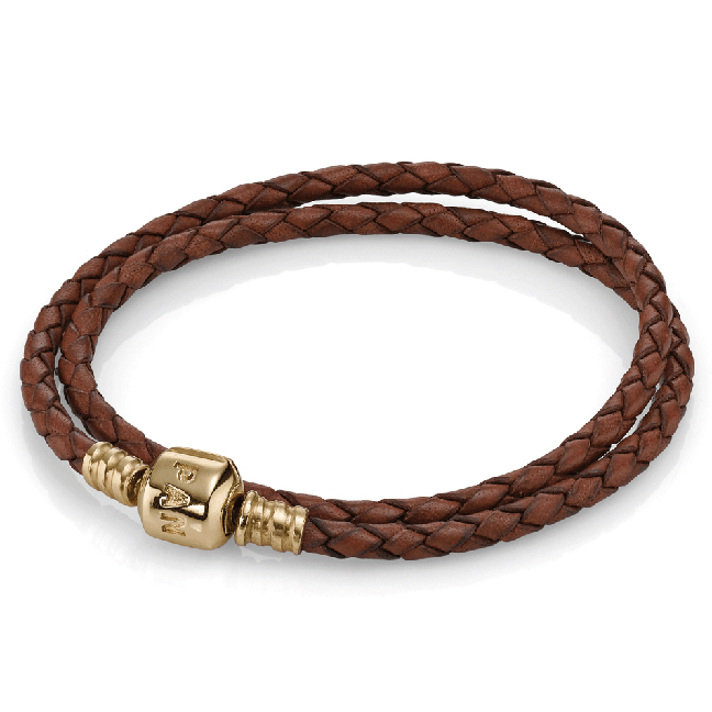 550705CBN - PANDORA 14kt Gold Brown Leather Double Bracelet $300.00