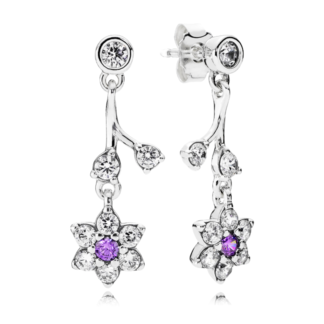 b993abae0 290691ACZ - Sterling Silver Purple and Clear CZ Forget-Me-Not Dangle  Earrings $100.00